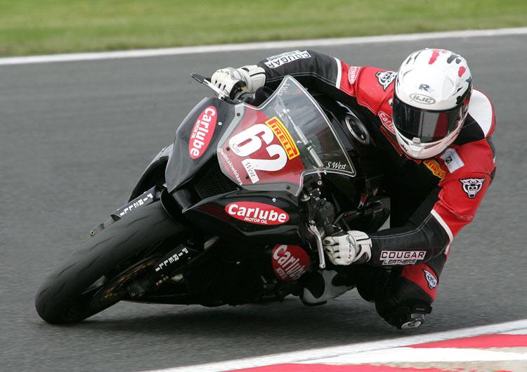Sam West on his Carlube sponsored motorbike